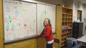 Julia decorating the board