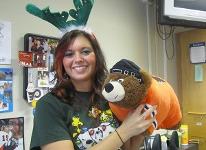 Miss H and her Flyers Pillow Pet!