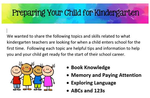 Is Your Child Ready For Kindergarten >> Kindergarten Information Preparing Your Child For Kindergarten